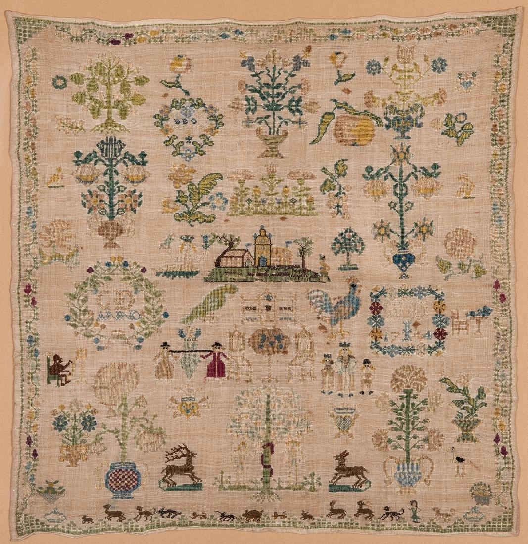 1744 Needlework sampler with Adam and Eve