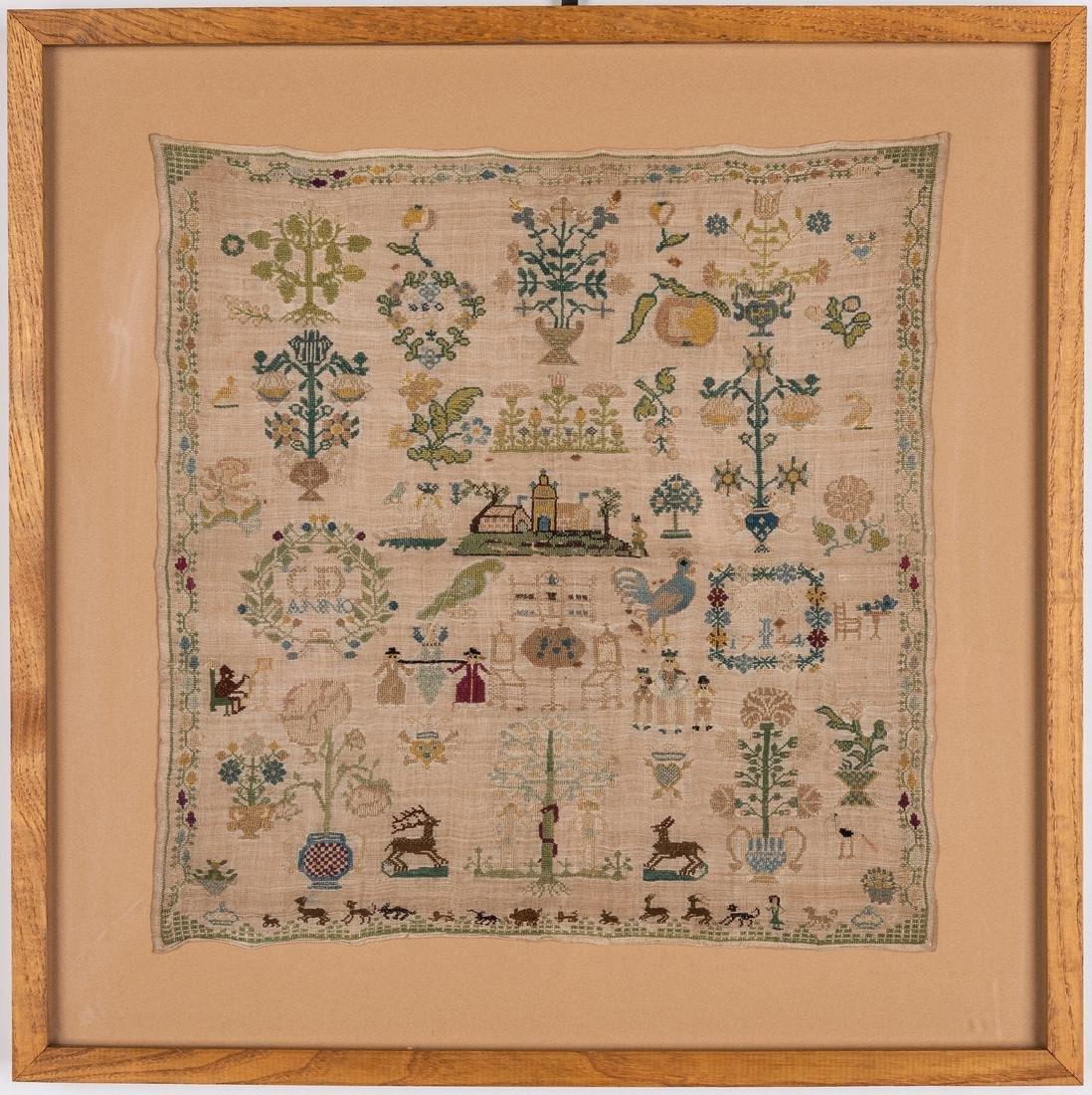 1744 Needlework sampler with Adam and Eve - 2