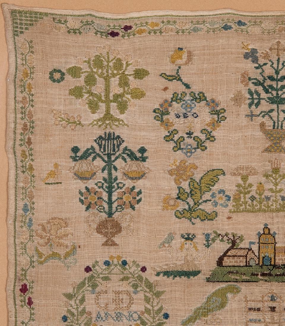 1744 Needlework sampler with Adam and Eve - 3