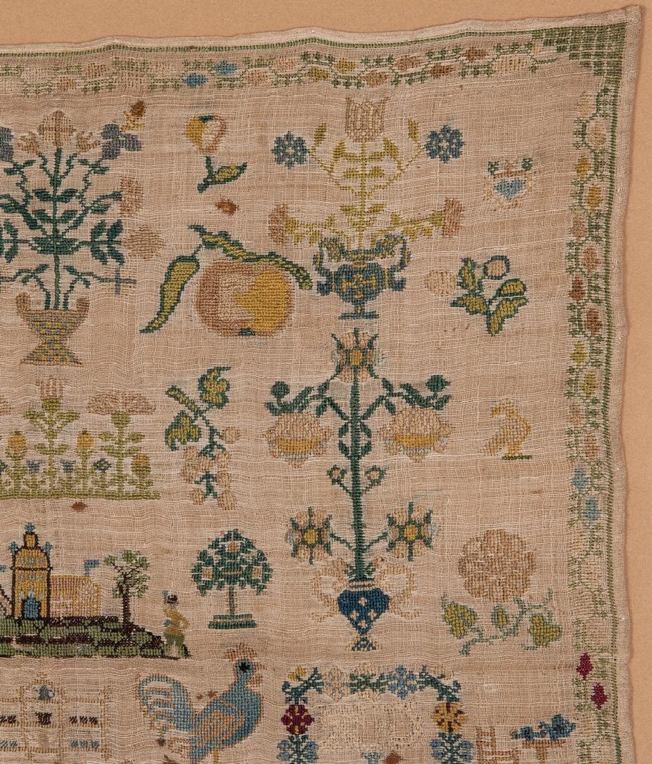 1744 Needlework sampler with Adam and Eve - 4