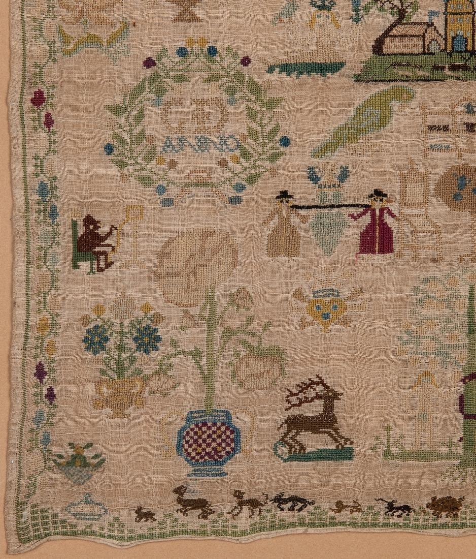 1744 Needlework sampler with Adam and Eve - 5