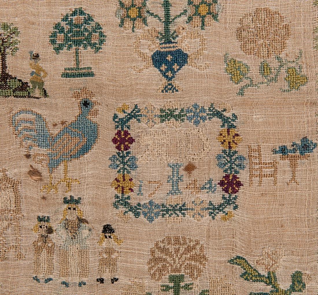 1744 Needlework sampler with Adam and Eve - 7