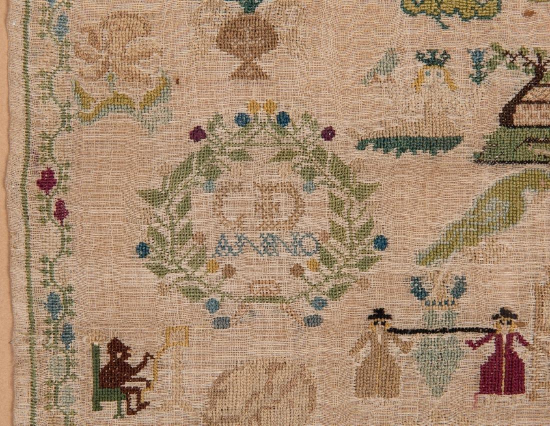 1744 Needlework sampler with Adam and Eve - 8