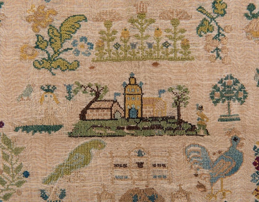 1744 Needlework sampler with Adam and Eve - 9