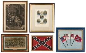 5 Confederate Items including Flags