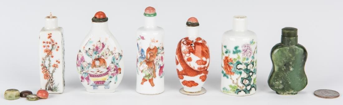 6 Snuff Bottles, Jade and Porcelain