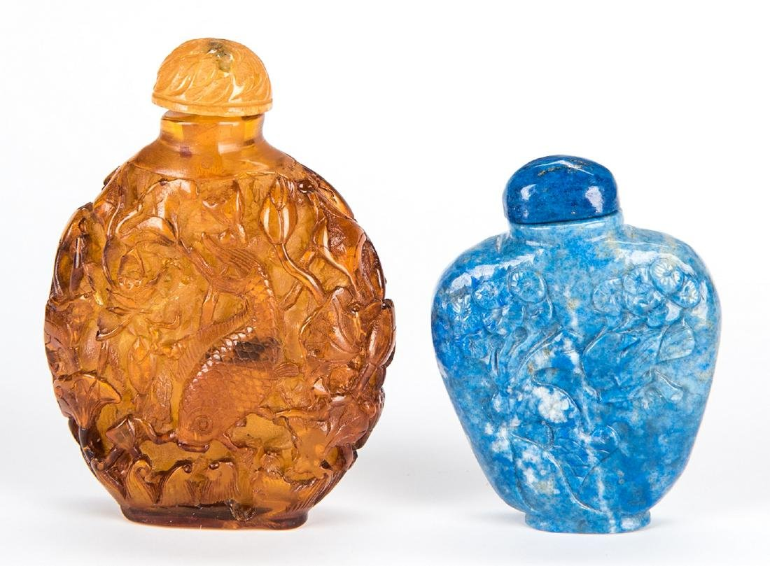 5 Chinese Snuff Bottles incl. Lapis, Porcelain - 10