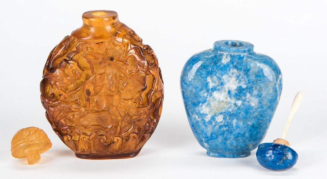 5 Chinese Snuff Bottles incl. Lapis, Porcelain - 12
