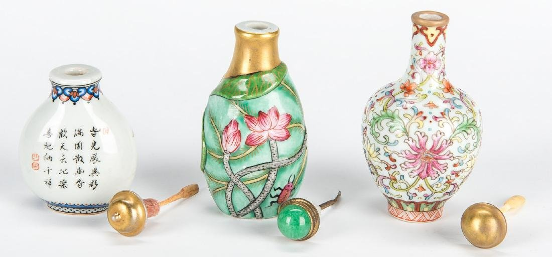 5 Chinese Snuff Bottles incl. Lapis, Porcelain - 5