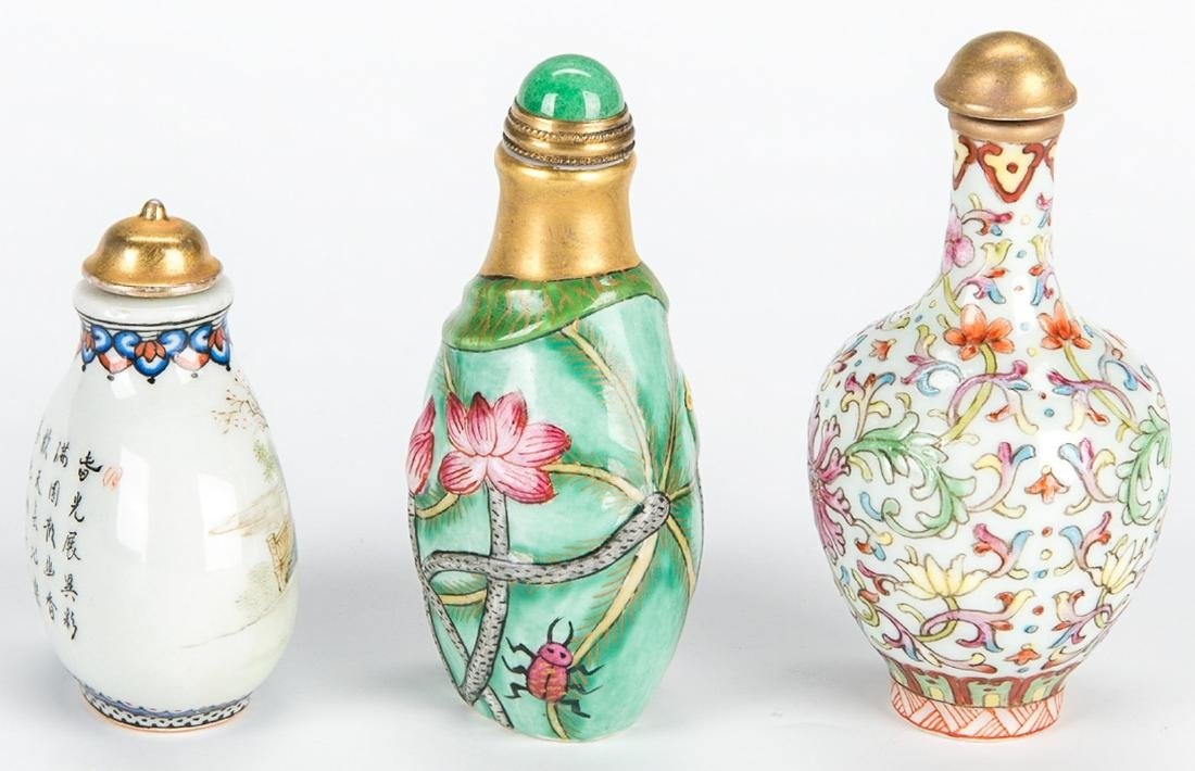 5 Chinese Snuff Bottles incl. Lapis, Porcelain - 6
