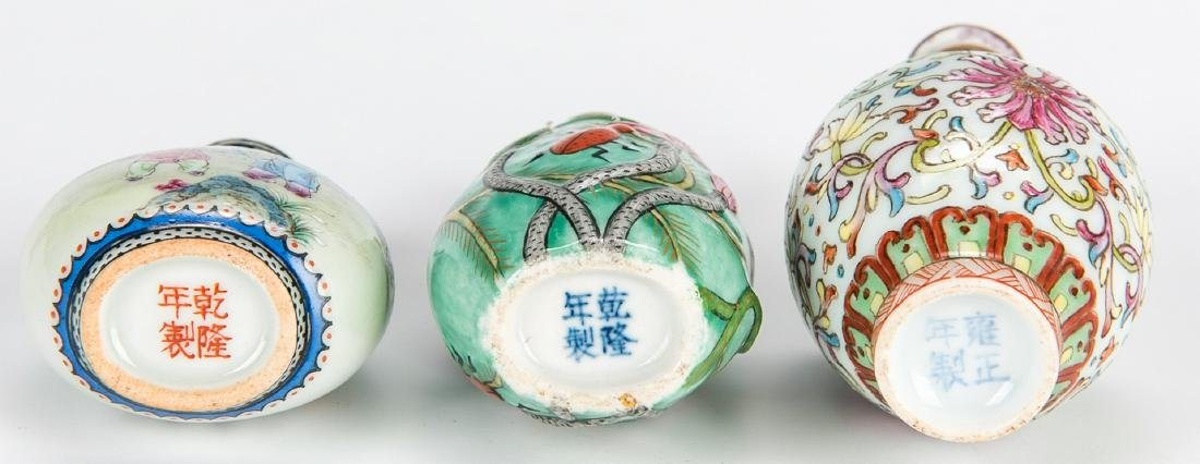 5 Chinese Snuff Bottles incl. Lapis, Porcelain - 8