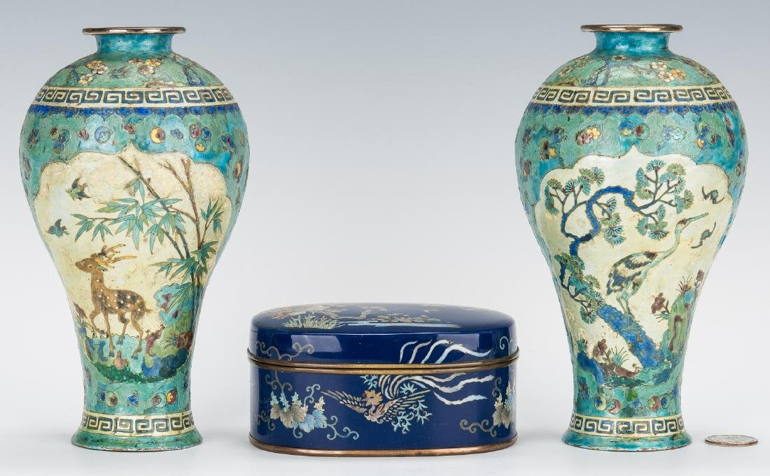 Pr. Chinese Silver & Cloisonne Vases plus cloisonne box