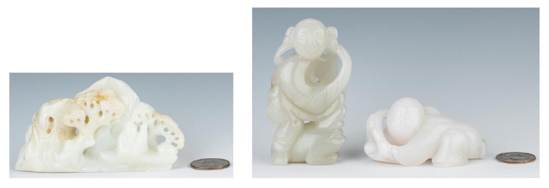 Carved Jade Boulder & 2 Jade Figures