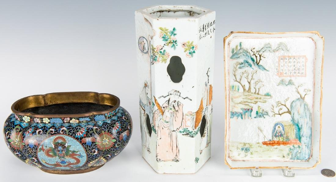 Cloisonne Lobed Bulb Pot, Famille Rose Tray and Hat