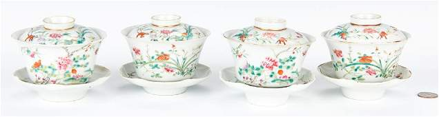 4 Chinese Famille Rose Porcelain Tea Cups w/ Covers