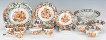 16 pcs Chinese Export Porcelain, 16 pcs incl. Baskets