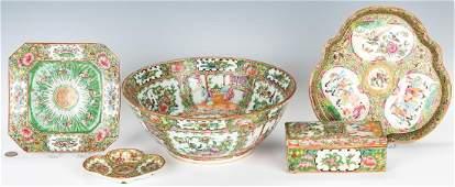 5 Pcs. Chinese Export Porcelain, incl. Punch Bowl