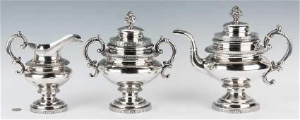 New York Cox Coin Silver Tea Set 3 pcs
