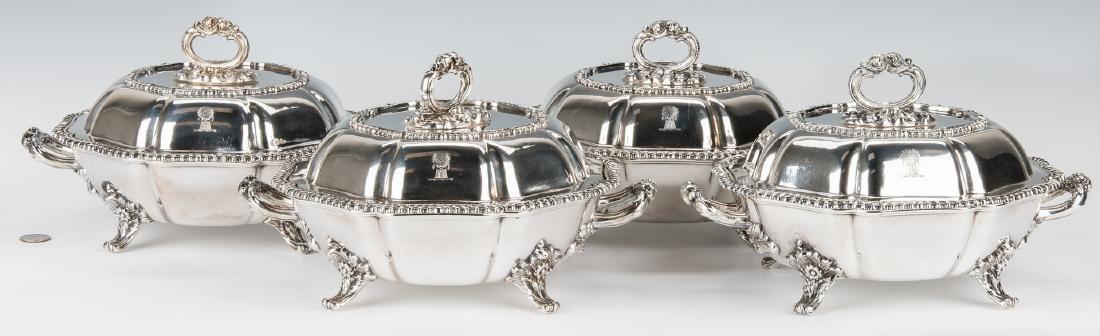 4 Matthew Boulton Armorial Entree Dishes