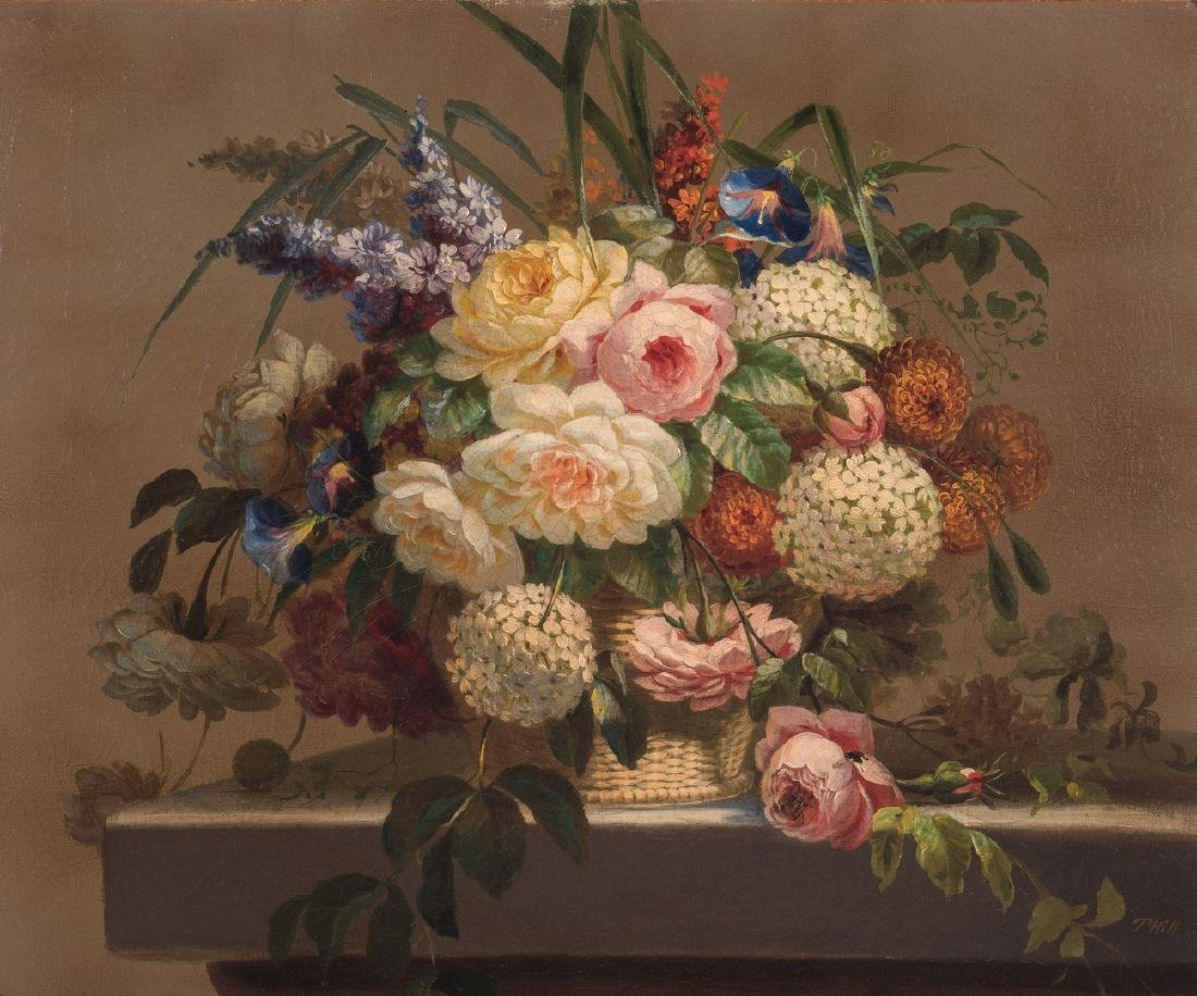 Thomas Hill O/C Still Life, Flowers with Fly