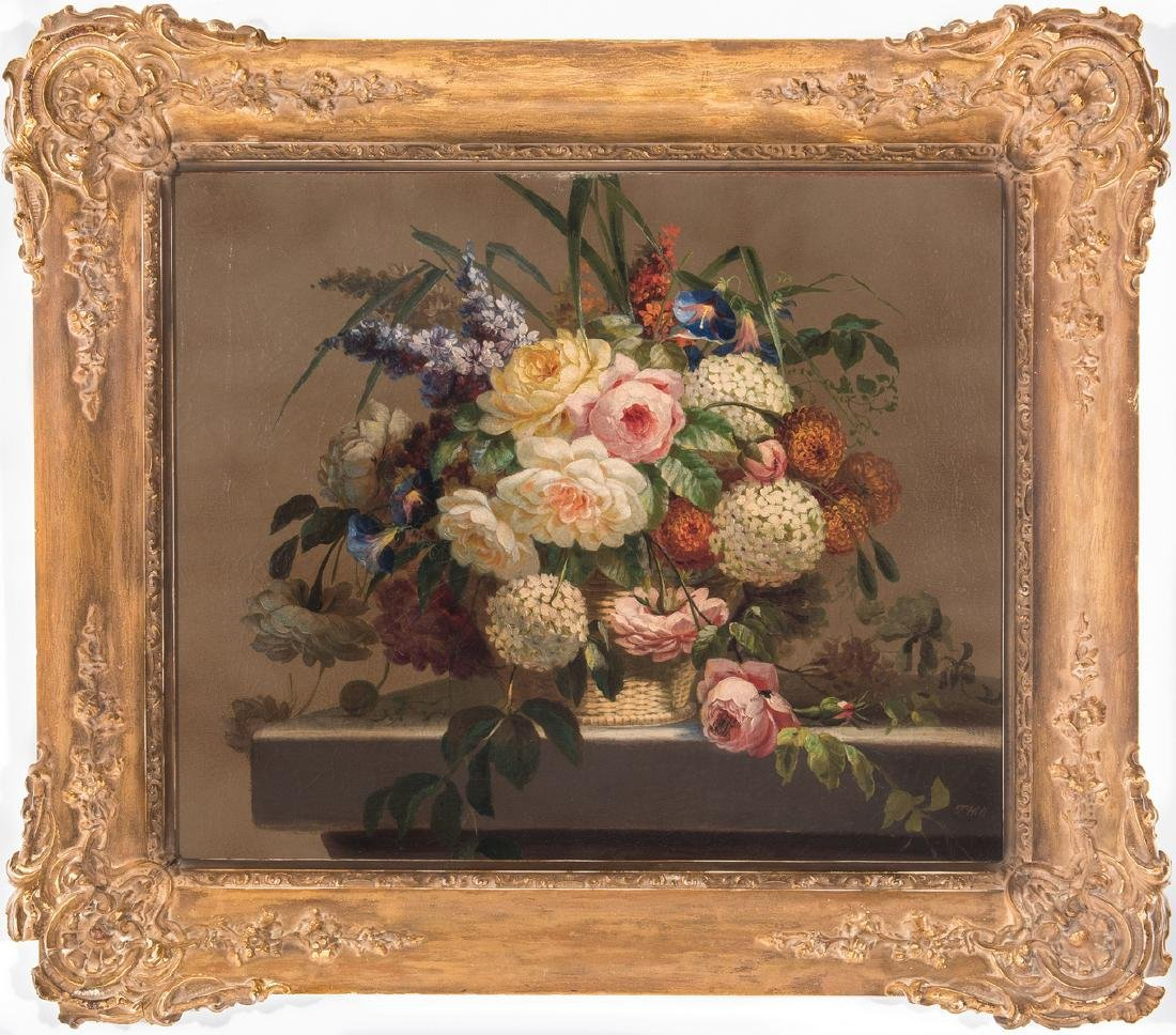 Thomas Hill O/C Still Life, Flowers with Fly - 2