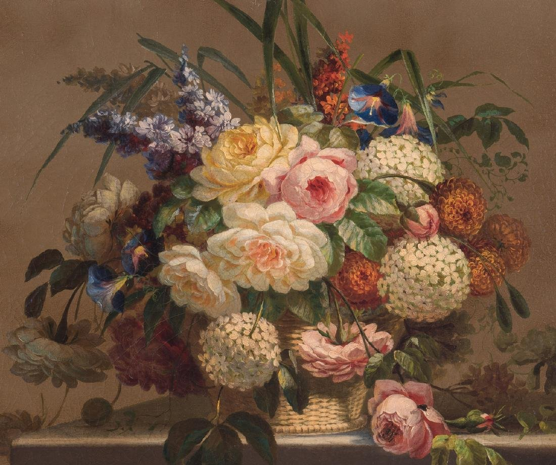 Thomas Hill O/C Still Life, Flowers with Fly - 3