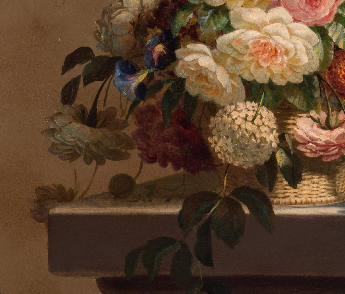 Thomas Hill O/C Still Life, Flowers with Fly - 6
