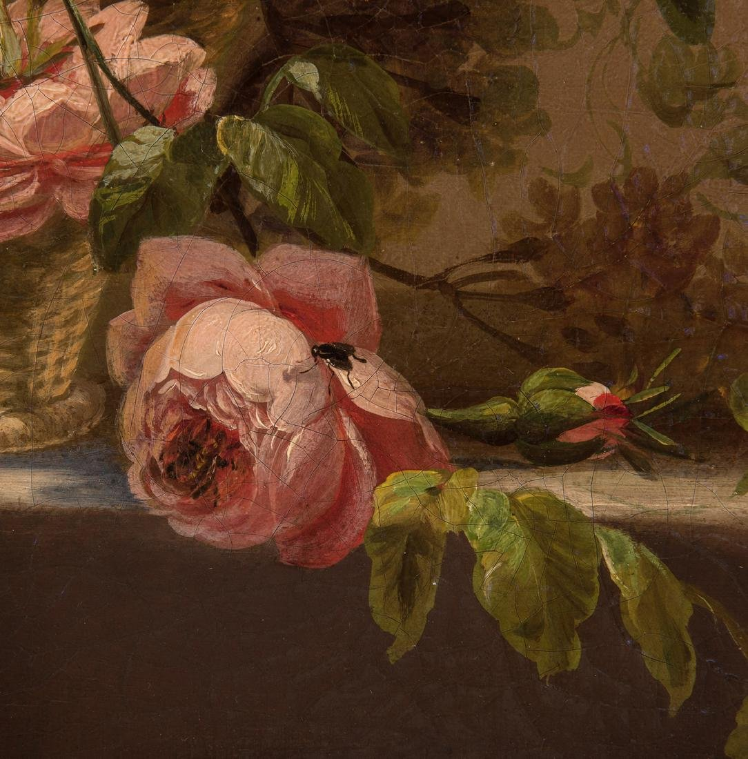 Thomas Hill O/C Still Life, Flowers with Fly - 9