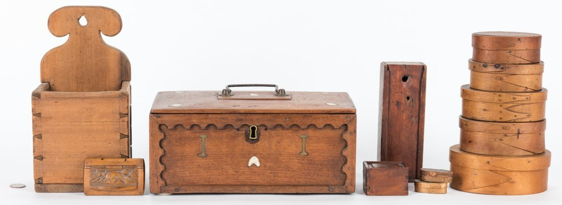 Collection of 12 Wood Boxes, incl. Shaker