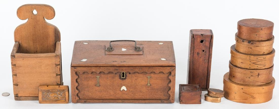 Collection of 12 Wood Boxes, incl. Shaker - 2