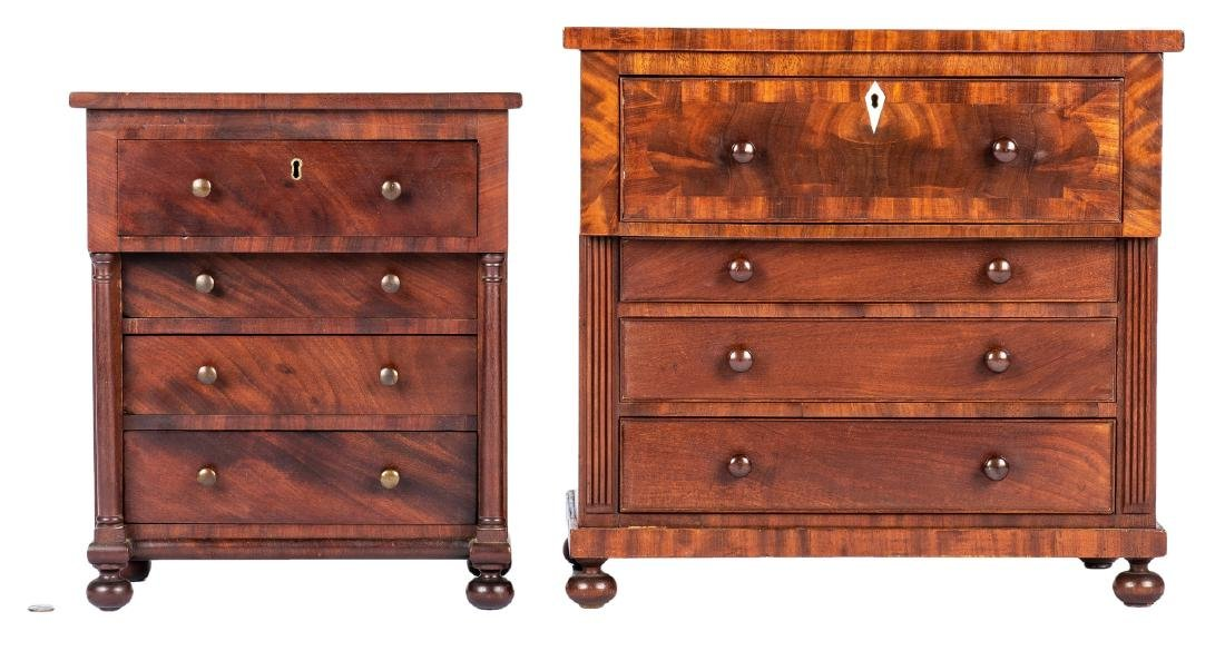 2 Mid Atlantic Miniature Classical Chests of Drawers