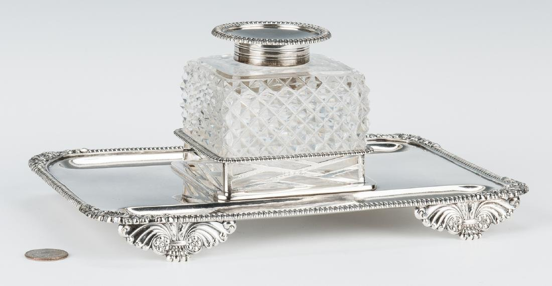 English Sterling & Crystal Inkstand