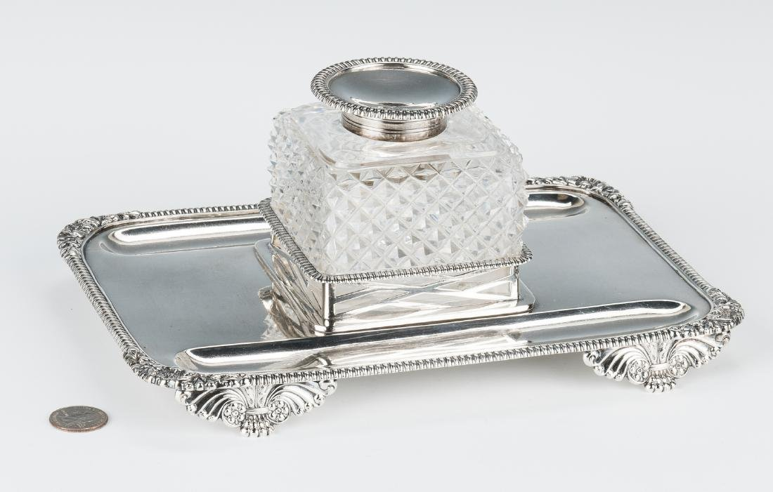 English Sterling & Crystal Inkstand - 2