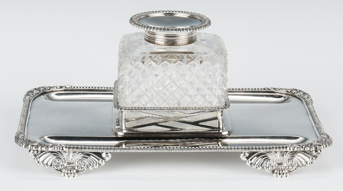 English Sterling & Crystal Inkstand - 3