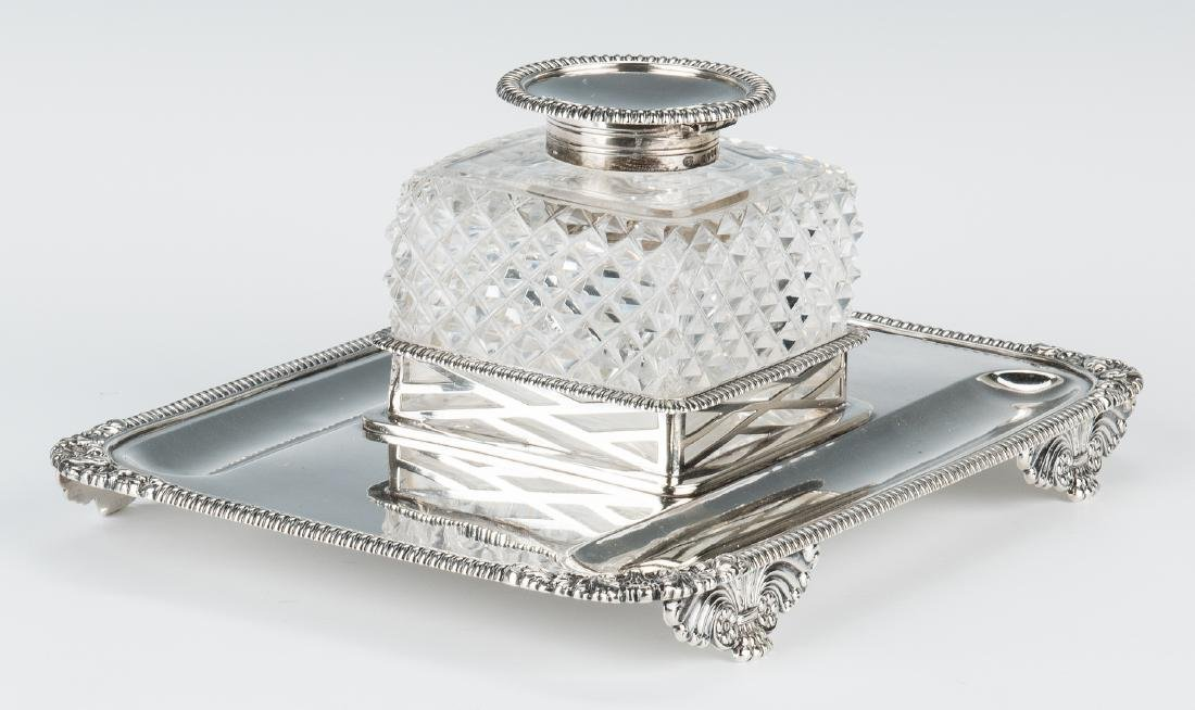 English Sterling & Crystal Inkstand - 4