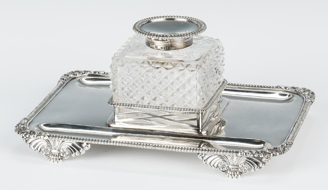 English Sterling & Crystal Inkstand - 5