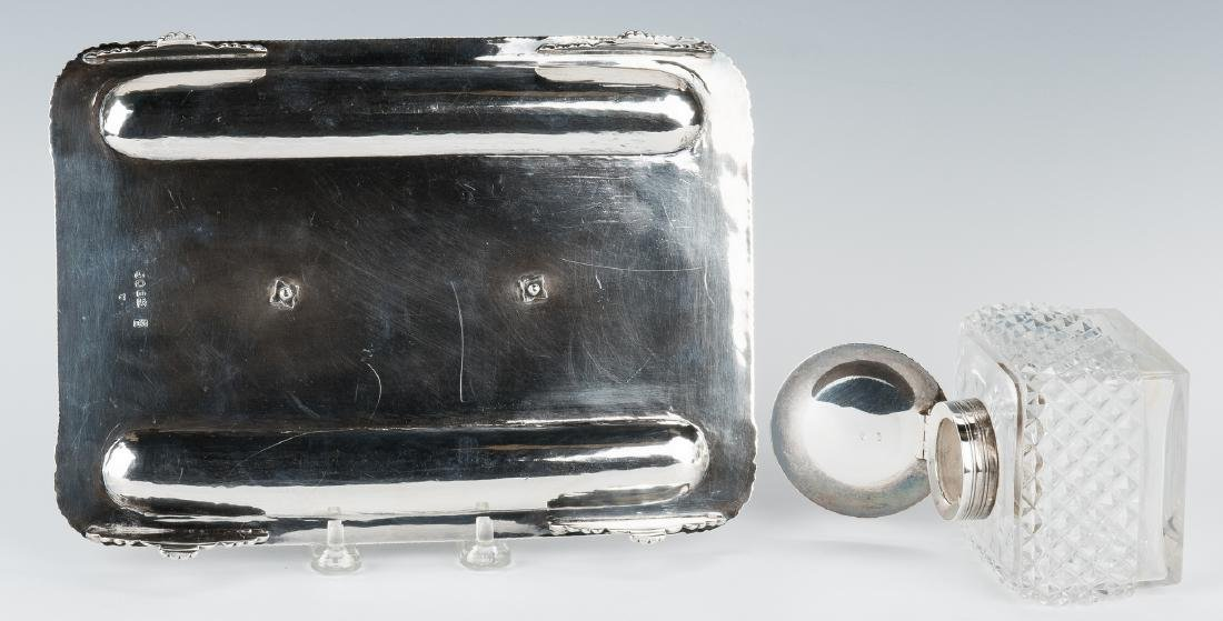 English Sterling & Crystal Inkstand - 9