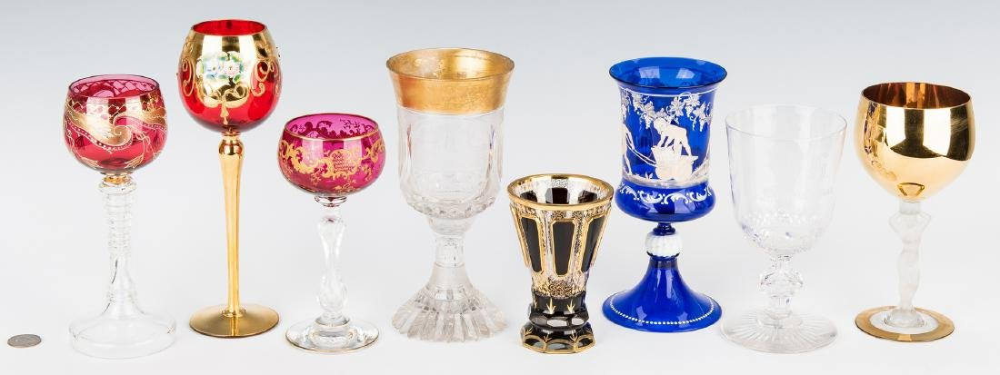 Collection of 8 Art & Cut Glass Goblets - 2