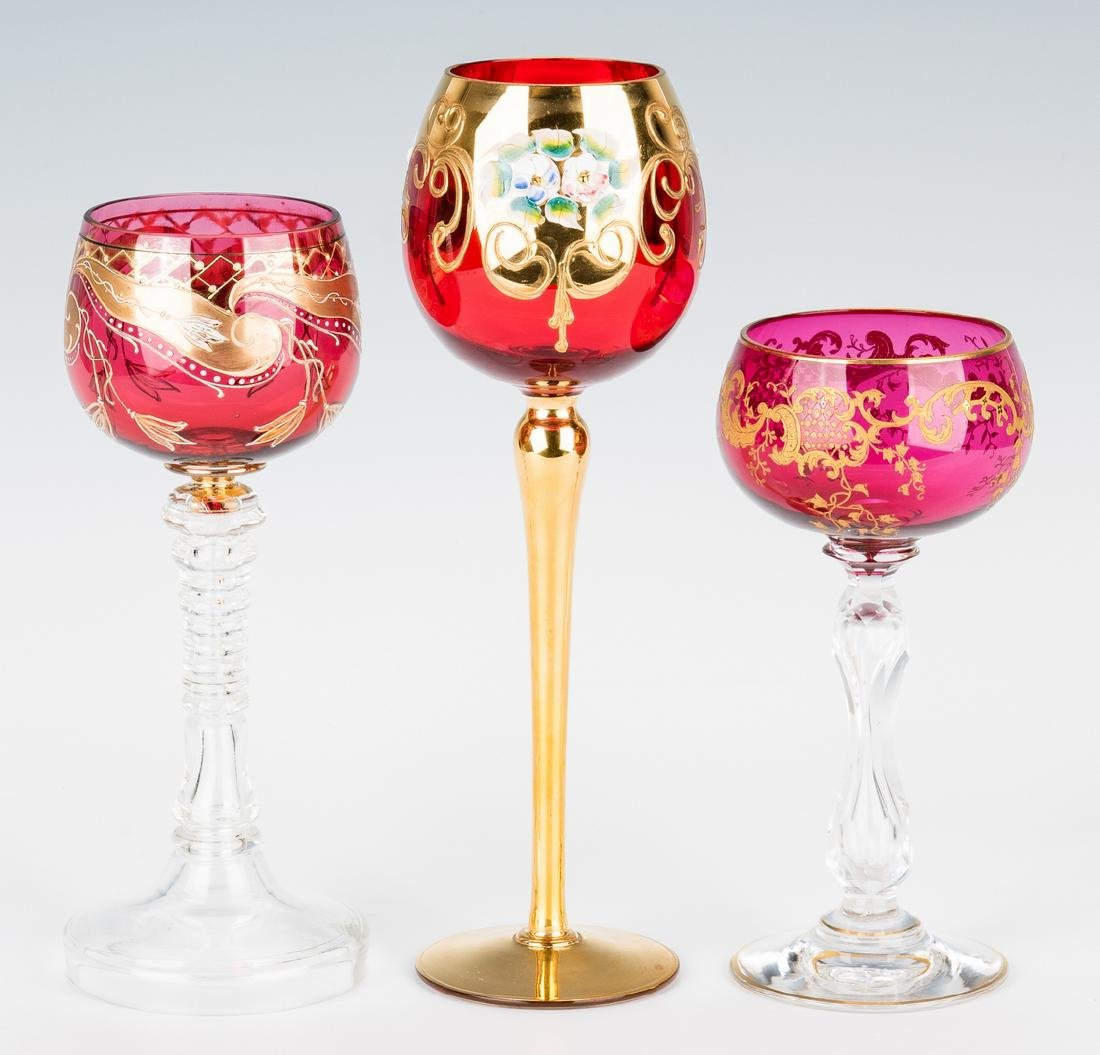 Collection of 8 Art & Cut Glass Goblets - 4