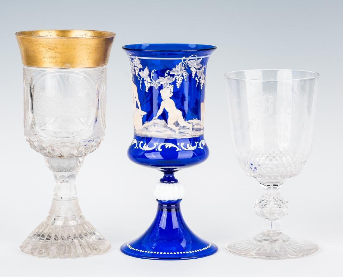 Collection of 8 Art & Cut Glass Goblets - 6