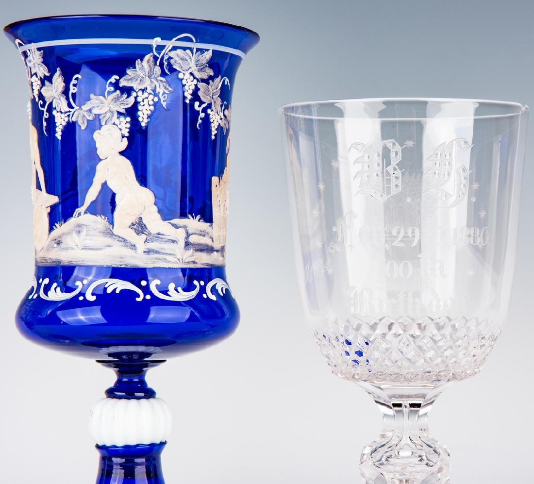 Collection of 8 Art & Cut Glass Goblets - 8