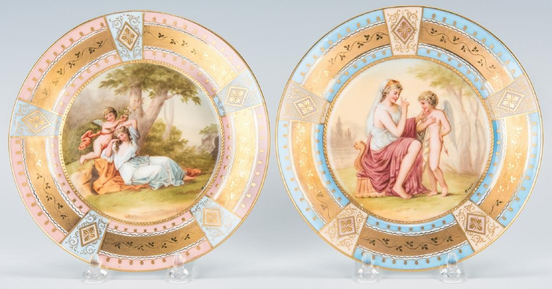 Pr. Royal Vienna Cabinet Plates, signed Bauer
