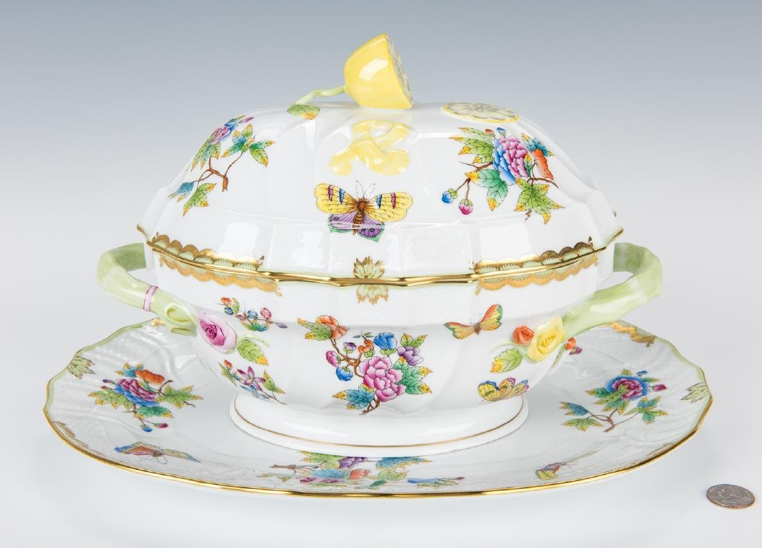 Herend Queen Victoria Soup Tureen and Underplate
