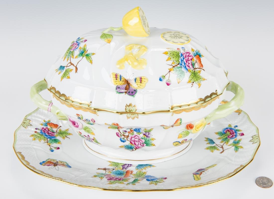 Herend Queen Victoria Soup Tureen and Underplate - 2