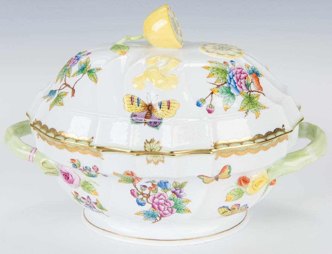 Herend Queen Victoria Soup Tureen and Underplate - 3