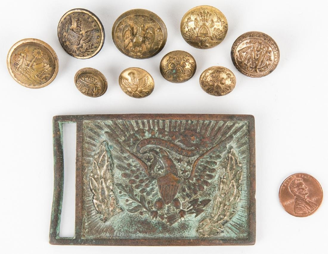 19 Civil War and Later Items, incl. Belt Plate, Buttons - 7