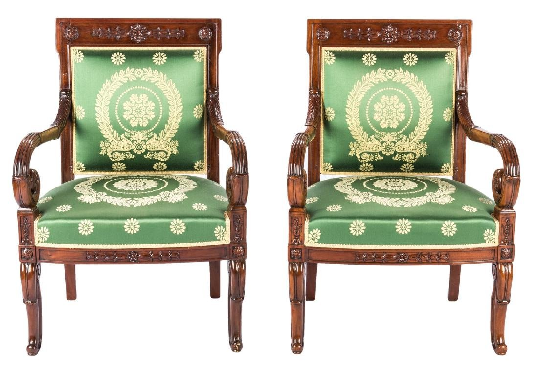 Pair Signed French Neoclassical Arm Chairs, COUDURIER