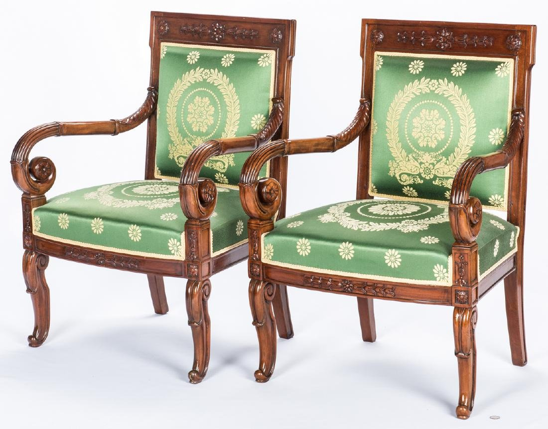 Pair Signed French Neoclassical Arm Chairs, COUDURIER - 2
