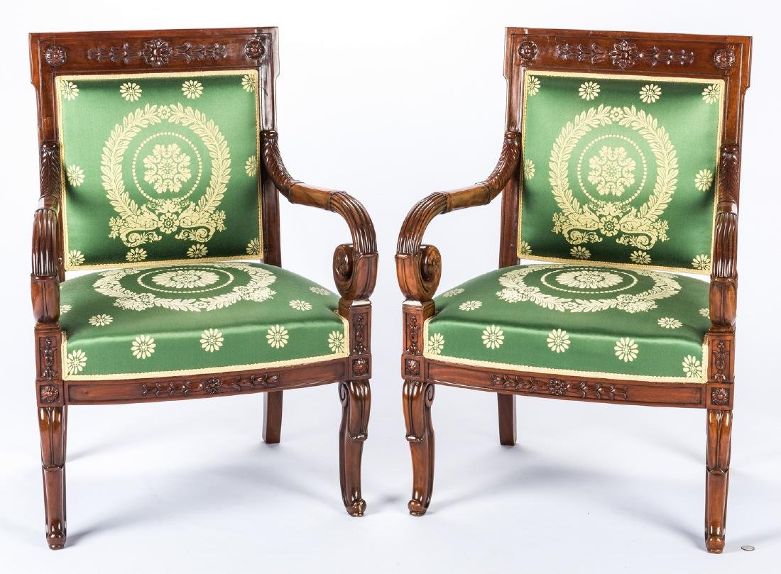 Pair Signed French Neoclassical Arm Chairs, COUDURIER - 3
