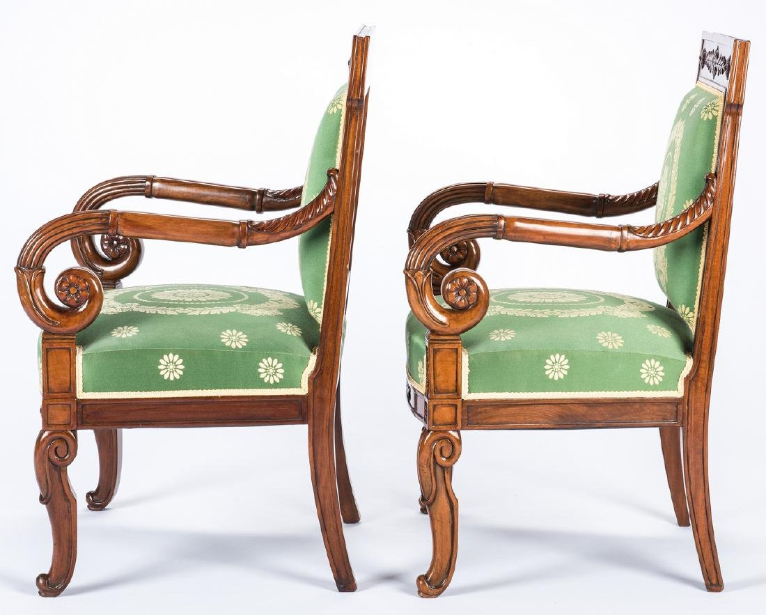 Pair Signed French Neoclassical Arm Chairs, COUDURIER - 5